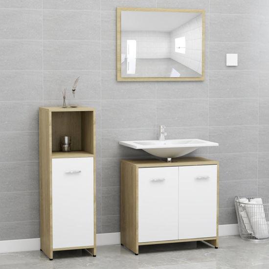"Picture of 23"" Bathroom Furniture Set - 3pc White and Sonoma Oak"