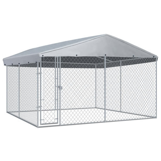 Picture of Outdoor Dog Kennel with Roof - 12'