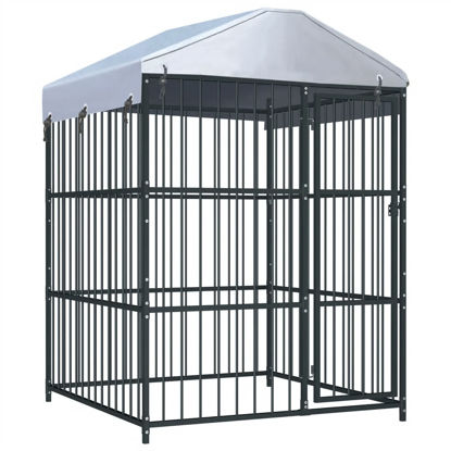 Picture of Outdoor Dog Kennel with Roof - 5'