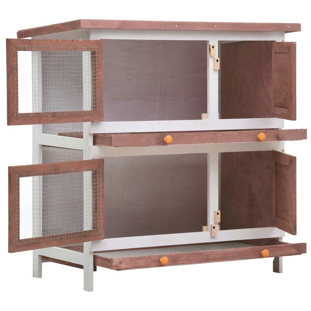 Picture of Outdoor Rabbit Hutch - Brown Wood