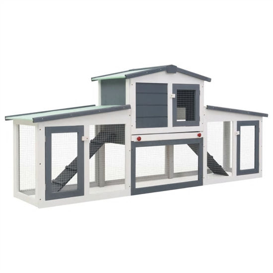 Picture of Outdoor Large Rabbit Hutch - Gray and White Wood