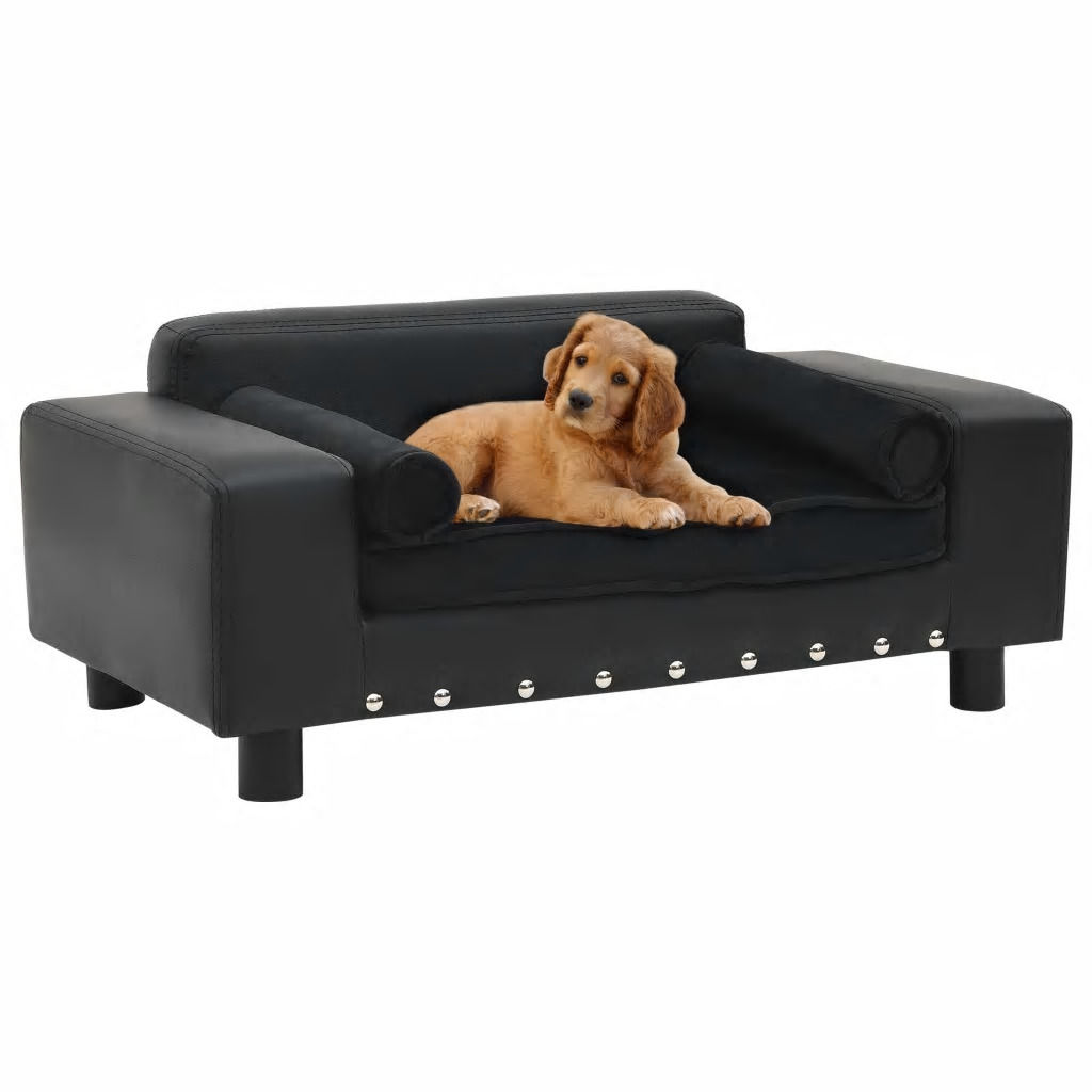 Picture of Dog Plush and Faux Leather Sofa - Black